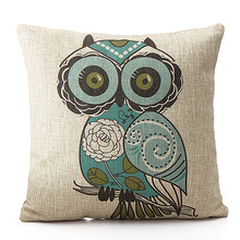 New Home Decorative Throw Pillow Case Vintage Pillowcase Cotton Linen Square Cute Cartoon Owl