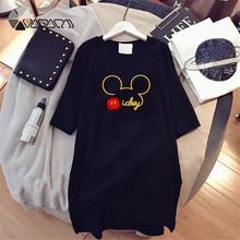 Summer Fashion Women Dresses Minnie Mickey Mouse Cartoon Print Clothes Loose Women Clothing Big Size Cute Mini Dress Black 2019 цены