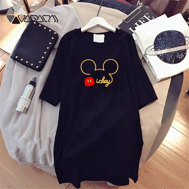 Summer Fashion Women Dresses Minnie  Mouse Cartoon Print Clothes Loose Women Clothing Big Size Cute Mini Dress Black 2019