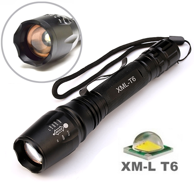 8000 Lumens Flashlight 5-Mode CREE XM-L T6 LED Flashlight Waterproof Zoomable Focus Torch lampe torche by 2*18650 Battery cree xm l t6 bicycle light 6000lumens bike light 7modes torch zoomable led flashlight 18650 battery charger bicycle clip