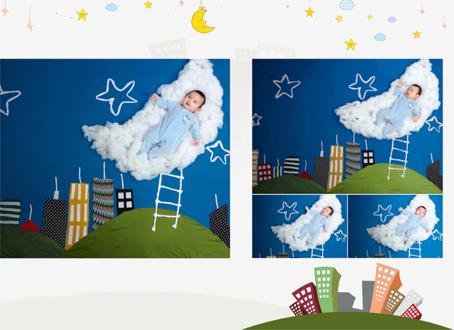 vinyl backdrops for photography 150*150cm fundo fotografico newborn photography backdrops white clouds, star for child t-917