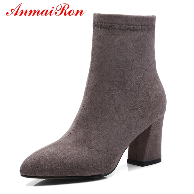 Anmairon Pour Taille 43 Pointu Black Nouvelle Ly112 camel Bout 2018 Bottines grey Zapatos Mujer Femmes Mode 34 Bottes De JlKFc1