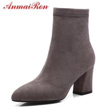 AnmaiRon  Women Pointed Toe Boots New Fashion 2018 Zapatos De Mujer Ankle for Size 34-43 LY112
