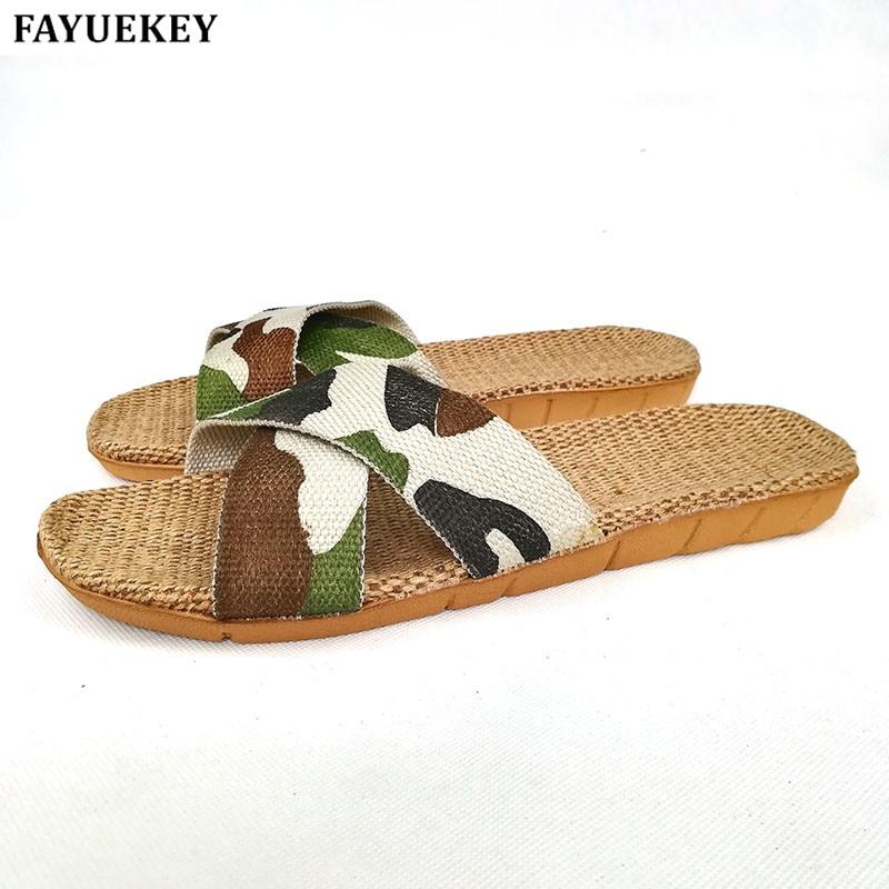 Fayuekey جديد الصيف الكتان تنفس النعال المنزل الرجال التمويه عبر حزام داخلي النعال الشاطئ مفتوحة الأصابع الأحذية