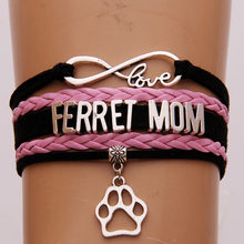 NCRHGL 2018 NEW Infinity love FERRET MOM bracelets bangles animal paw charm braided leather bracelet jewelry women Drop Shipping(China)