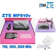 ZTE Unlock 150Mbps MF910v 4G WiFi Router With Sim Card Slot  Plus  4g 2X TS9 35DBI antenna + car charger