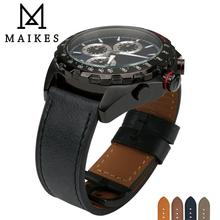 MAIKES Watch Accessories Strap Genuine Leather Wrist Bracelets Light Black Watchband For Omega 22mm 24mm Band