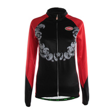 TVSSS Women's Summer Biking Jerseys Red and Black Long Sleeve Cycling Clothes