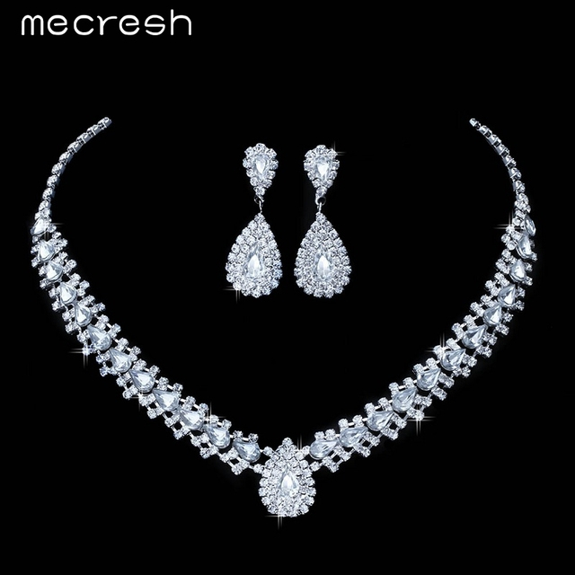 Mecresh 4 Colors Crystal Bridal Jewelry Sets Choker Necklace Earrings Teardrop African Beads Jewelry Set Wedding Jewelry TL001