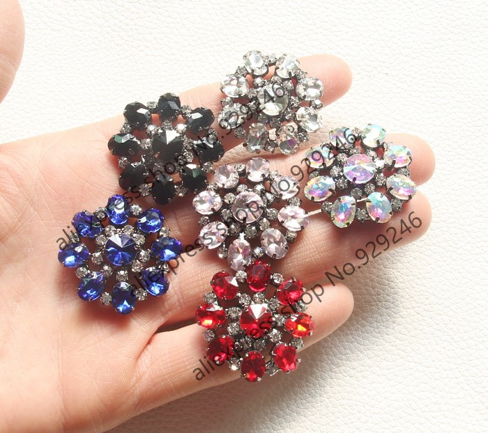 5pcs/lot 30mm round flower glass crystal rhinestone button in red sapphire black white pink ab color garment decorative button