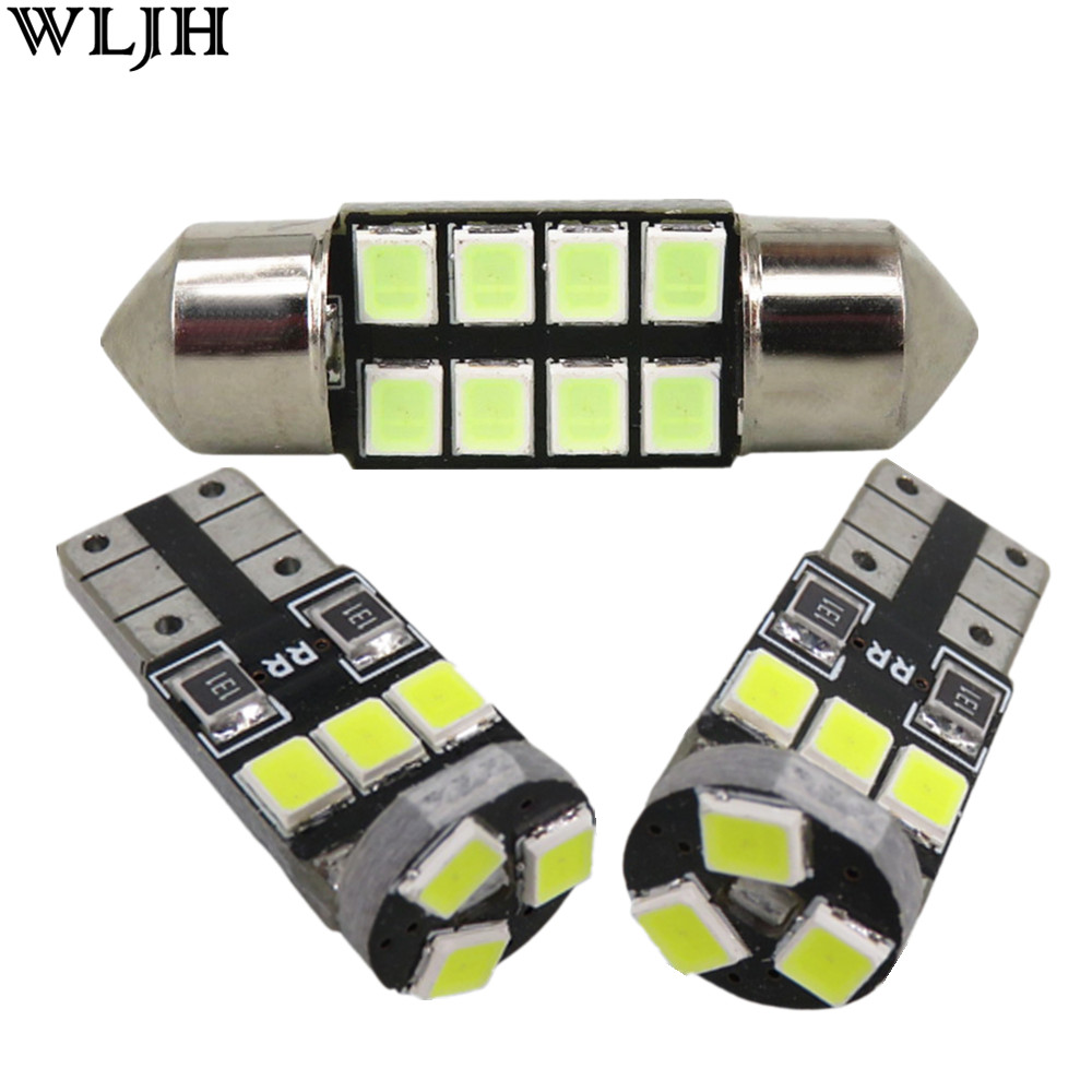 WLJH 6x Car <font><b>Led</b></font> 2835 SMD W5W T10 Lamp Bulb Interior Light Dome Map Trunk License Plate Light Package for <font><b>Lancer</b></font> Evo <font><b>X</b></font> 2008 -2015 image