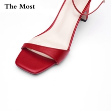 THEMOST 2017 New Genuine Leather Shoes Women Sandals Peep Toe Med Heel Real Leather Sandals  Ladies Shoes White Consice sandals