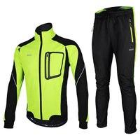 ARSUXEO Warm Up Thermal Cycling Jackets Winter Men MTB Bike Cycling Jacket Pants Set Bicycle Running