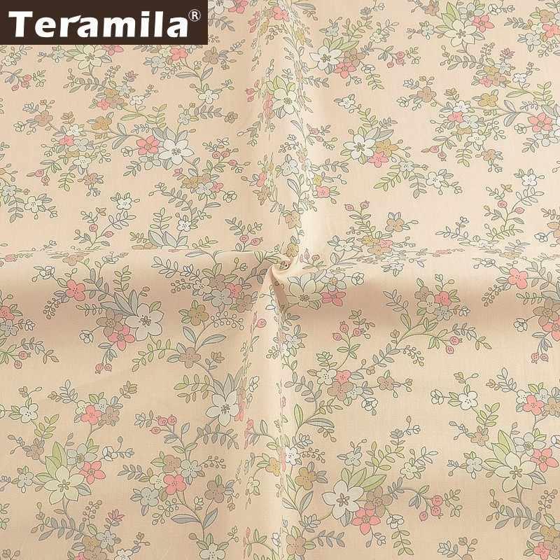 Teramila, 100% хлопок, цветы, ткань метров Telas Tissus DIY лоскутное покрывало, занавески, детское платье, домашняя саржевая ткань