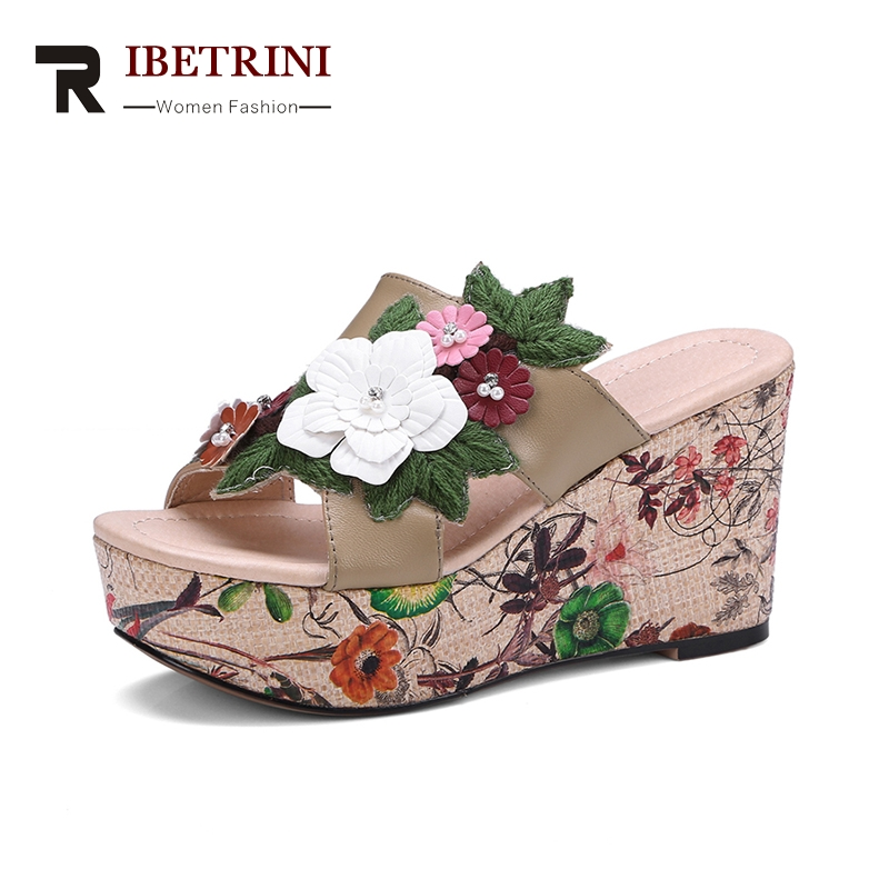RIBETRINI 2018 Genuine Leather Size 34-39 Fashion Flower Sandals Shoes Women Platform Summer Slippers Shoes Leisure ribetrini summer large size 34 40 cow genuine leather woman shoes mix color leisure flats women shoes sneakers