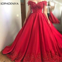 New Arrival Red Ball gown evening dress 2019 Beaded Lace Appliques long dress party Evening Gowns abendkleider dubai