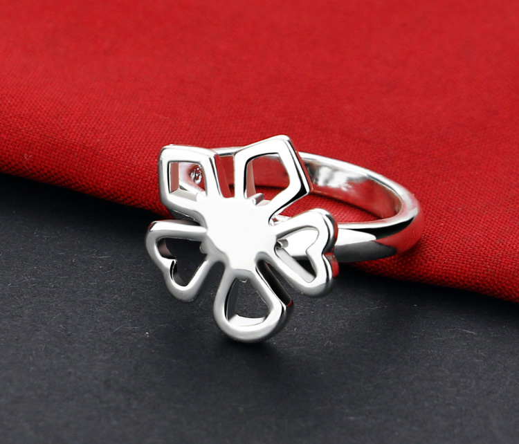Fashion Women Sterling Silver Ringrsonality Clovers Index Finger