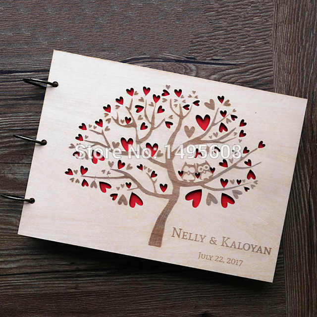 Owl Wedding Guest Book , Rustic Guest Book,heart tree Wedding Photo album,  Wooden wedding gifts for guests,Anniversary gifts