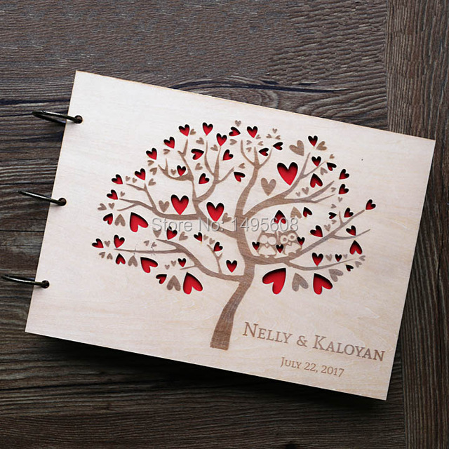 Owl wedding guest book rustic guest book heart tree for Photo wedding guest book