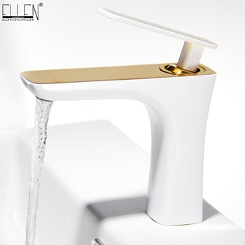 Bathroom Faucet Basin Faucets Hot and Cold Water Basin Mixer Tap White Gold Finish Brass Toilet Sink Water Crane Chrome EL457