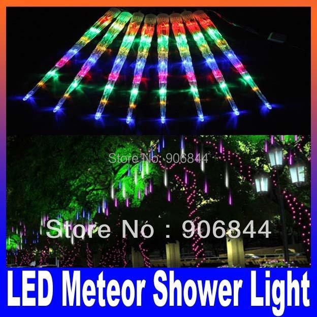 meet a119a e7251 US $71.79 |8pcs/set Holiday sale LED Meteor Shower Light Christmas LED  Icicle Light blue white change color 230V 50cm promotion-in Holiday  Lighting ...