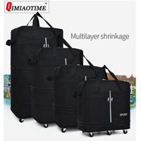 Air Checked Bag Large Capacity Abroad Study Abroad Travel Universal Wheel Foldable Luggage Moving Storage Bag Rolling Backpack
