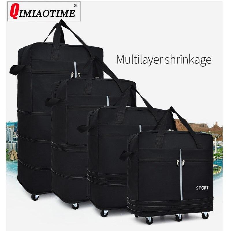 Sac à Air vérifié grande capacité à l'étranger étude à l'étranger voyage roue universelle pliable bagages sac de rangement mobile sac à dos roulant