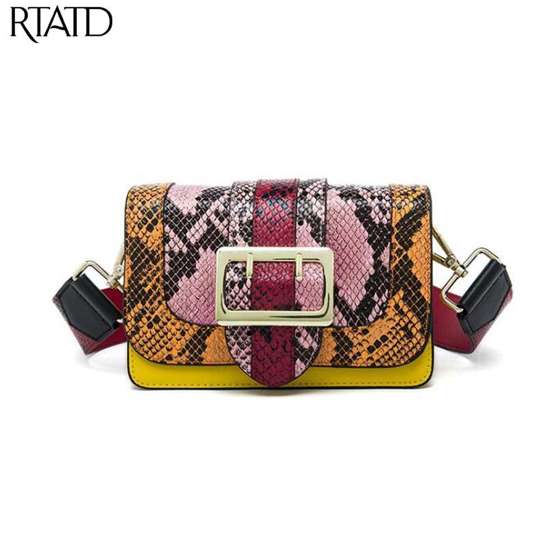 RTATD New Brand Design Flap Patchwork Messenger Bag Cowhide Women Split Leather Handbags Fashion Ladies Crossbody Bags B282