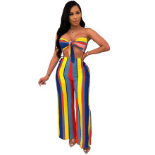 Adogirl multi color stripe strapless two pieces sets bohemian style front bow knot lace up suits wide leg long pants casual suit