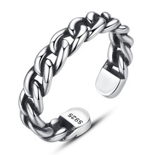 100% Real 925 Sterling Silver Jewelry Flat Wide Link Chain Open Rings for Women Fine Gifts Small Big Size Option