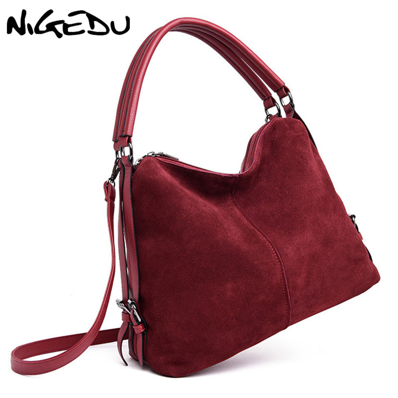NIGEDU Suede Women Handbags large Winter new women bag brand luxury design Shoulder Bag patchwork leather crossbody bags Totes цена и фото