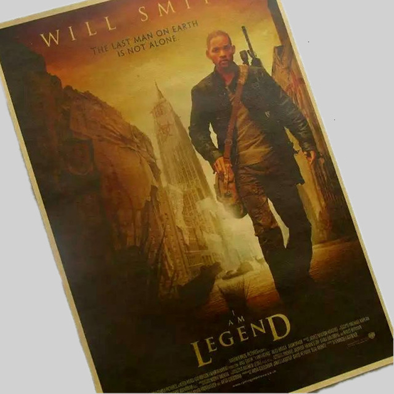 Free shipping,I Am Legend / Will Smith film/classic movie/kraft paper/bar poster/Retro Poster/decorative painting 30x42cm