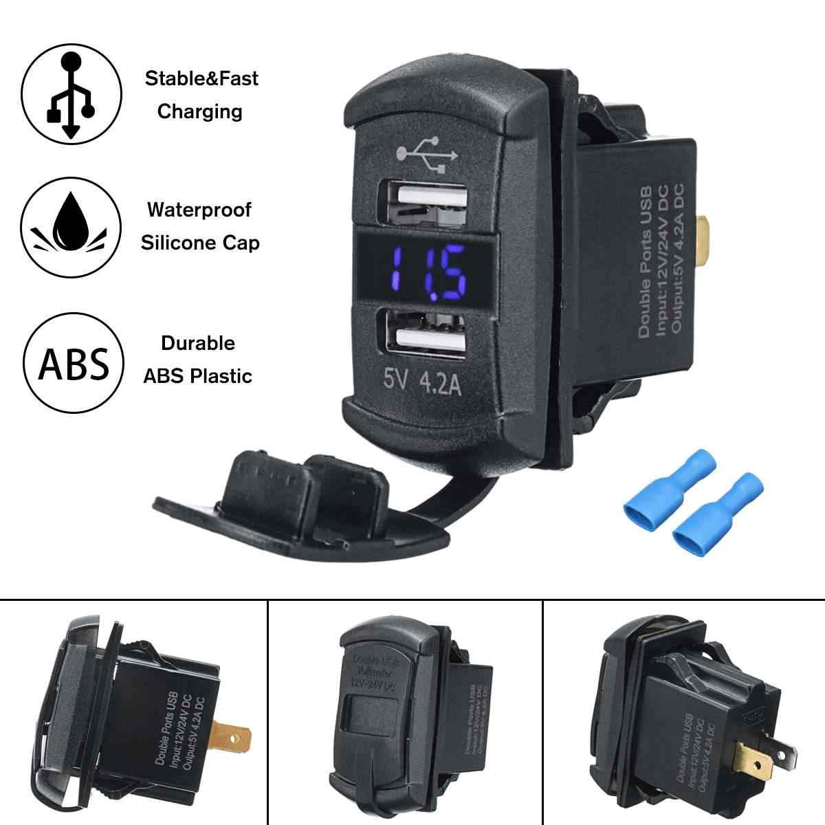 12 V Biru/Merah LED USB Charger Backlit Rocker Switch untuk Polaris Rzr Ranger 900 1000 RZR900 Voltmeter Digital biru Lampu LED