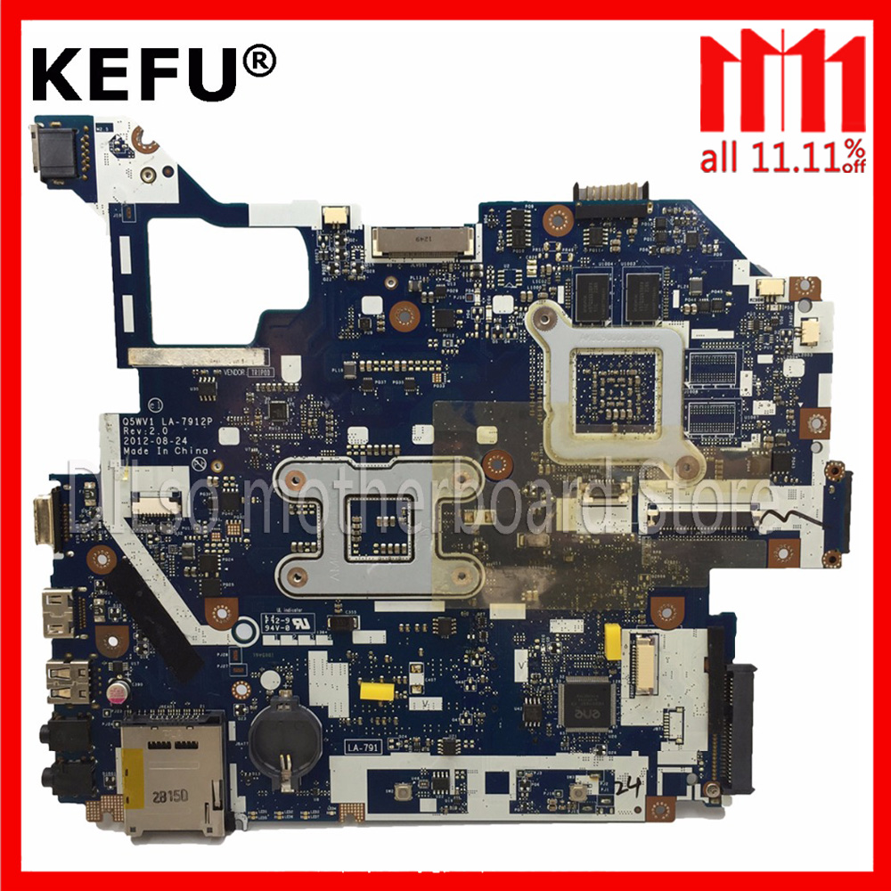 KEFU LA-7912P motherboard fit for ACER Aspire E1-571G V3-571G V3-571 motherboard Q5WV1 LA-7912P HM77 PGA989 Test original laptop motherboard for acer aspire v3 571g e1 571g nv56r q5wvh la 7912p nbc1f11001 hm70 pga989 ddr3 fully tested