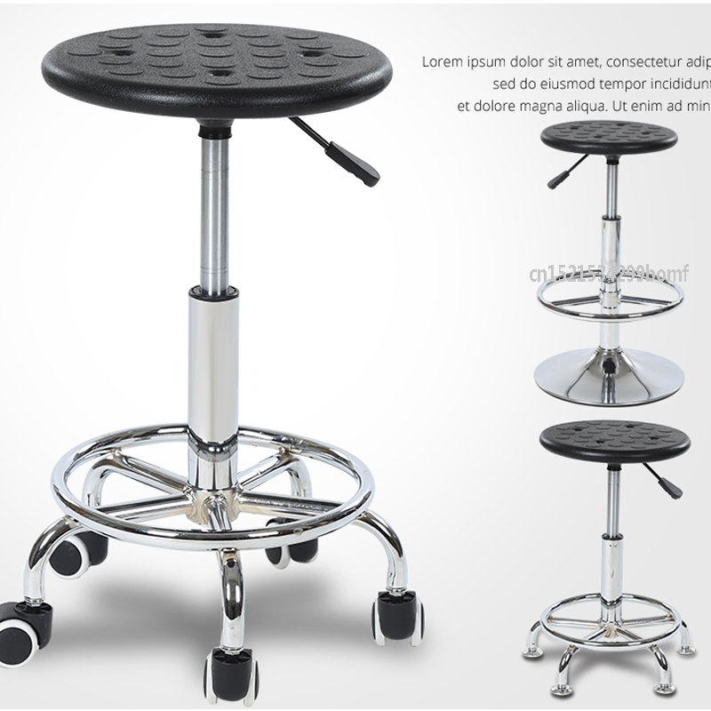 Stainless Steel Durable Factory Lifting Stool Bar Chair PU Foam Anti-static Stool With Vientiane Wheel For Workshop Laboratory