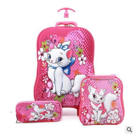 Kids Suitcase Travel Luggage Suitcase For Girls Children Rolling Luggage Suitcase School Backpack With Wheels Wheeled Backpack