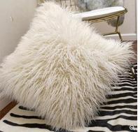 cream white single face imitation wool cushion cover plush wool pillowcase sofa warm back cushion case for throw pillow backrest