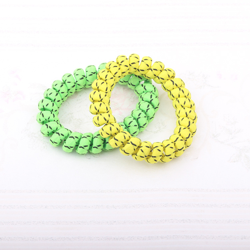 50Pcs/Lot Telephone Wire Hair Band Wrapped Cloth Ponytail Holder Elastic Phone Cord Line Hair Tie Hair Accessories