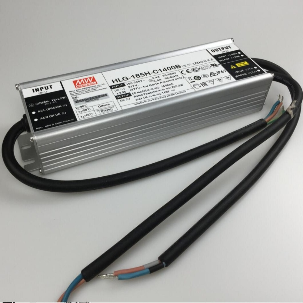 Meanwell dimmable 200w driver HLG 185H C1400B Single Output LED Power Supply 1400mA for 4pcs CREE