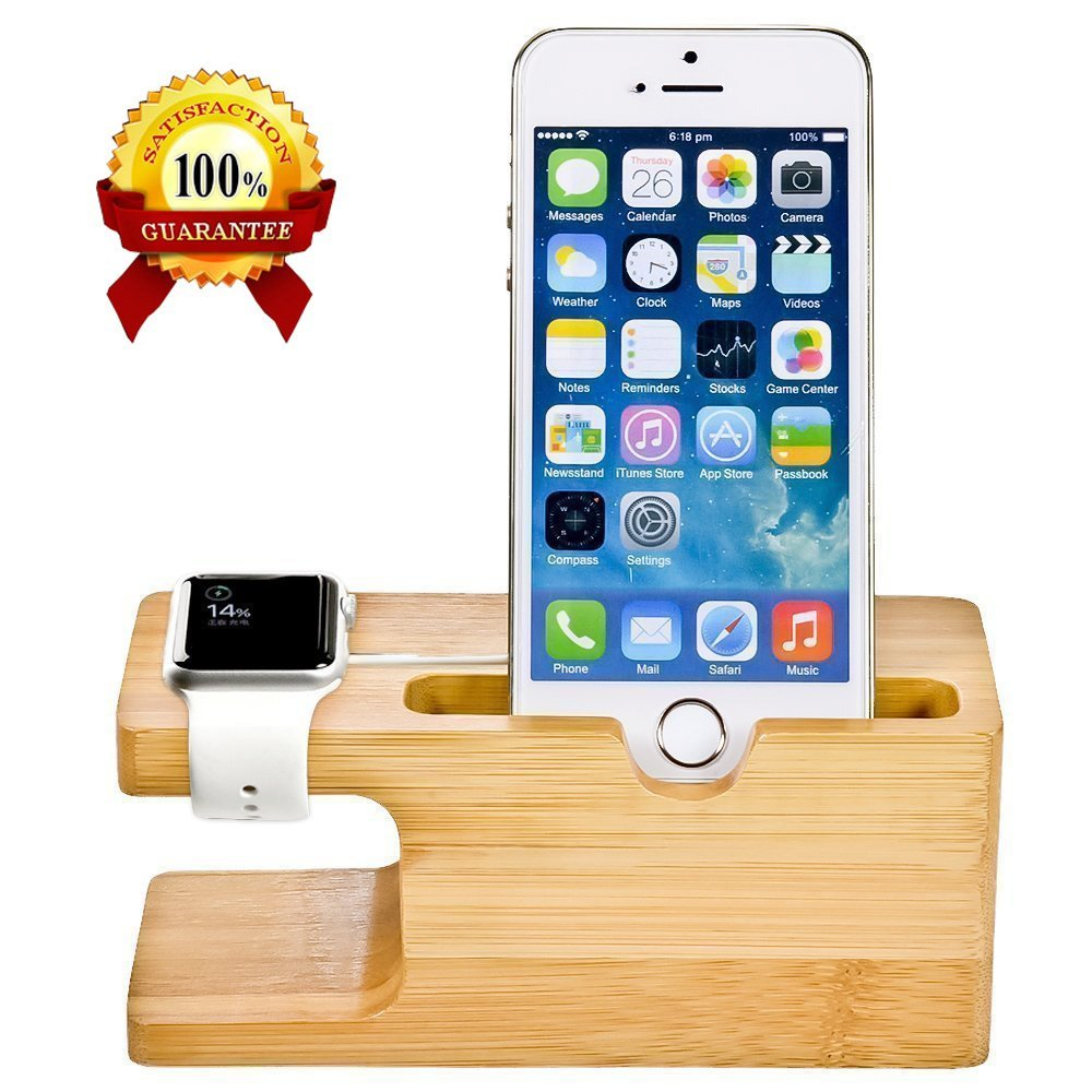 2-ը 1-ին Բամբուկե փայտի աշխատասեղանի կանգառը iPhone- ի բջջային հեռախոսի ստանդարտ կրող սարքի լիցքավորիչով լիցքավորման կայանի համար Apple Watch- ի համար