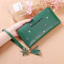 KANDRA Embroidery Long Wallet Star Print Tassel PU Leather Wallets Women Wristlet Phone Pocket Card Holder Zipper Cash Purse wristlet purse with tassel