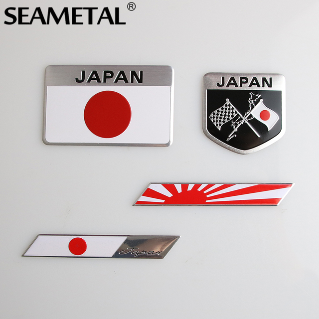 Japanese flag car stickers and decals 3d stickers logo car styling full body emblem badge auto