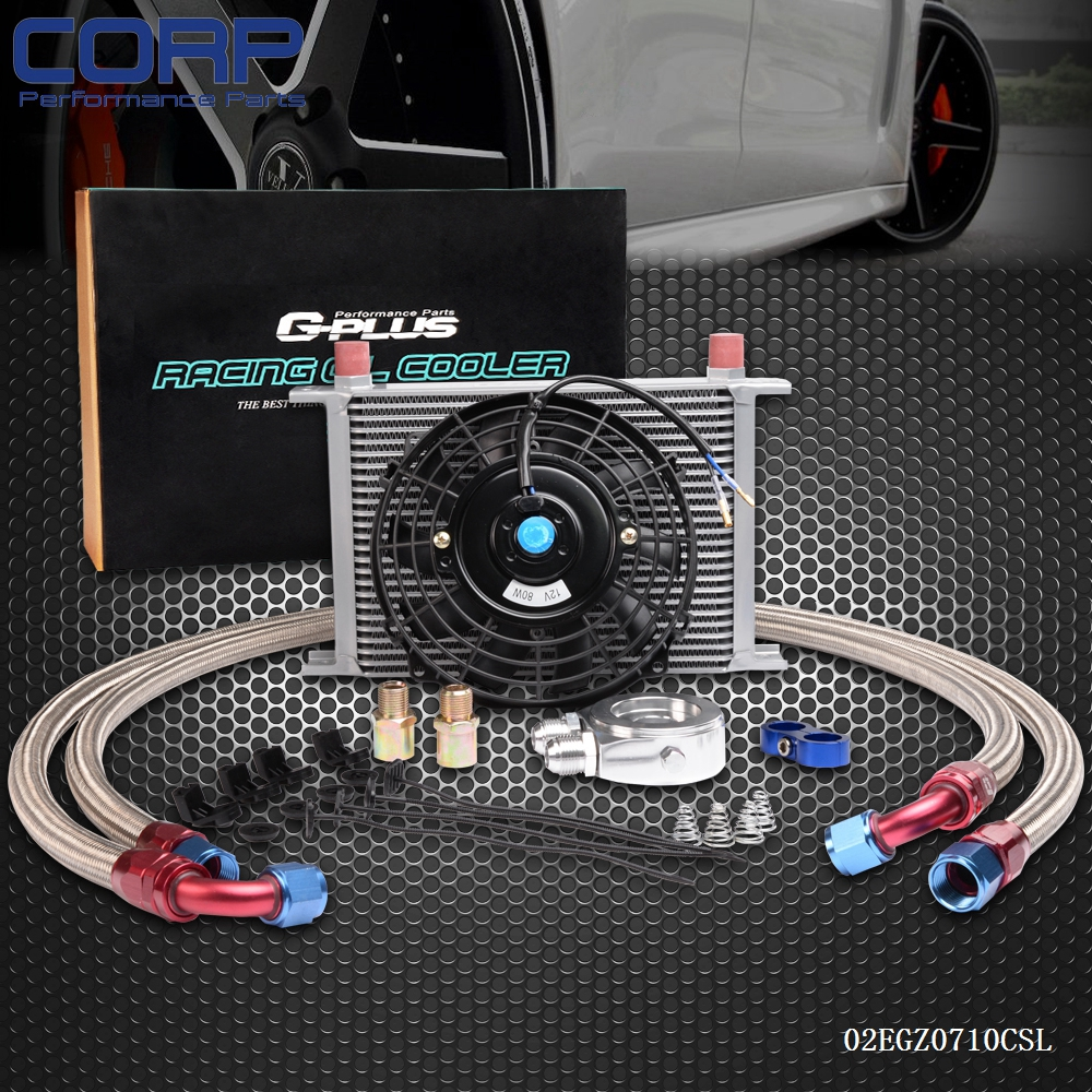 Universal 25 Row Engine Transmission 10AN Oil Cooler Kit + 7 Electric Fan Kit pqy store blue 15 row an 10an universal engine oil cooler kit aluminum hose end kit pqy5128
