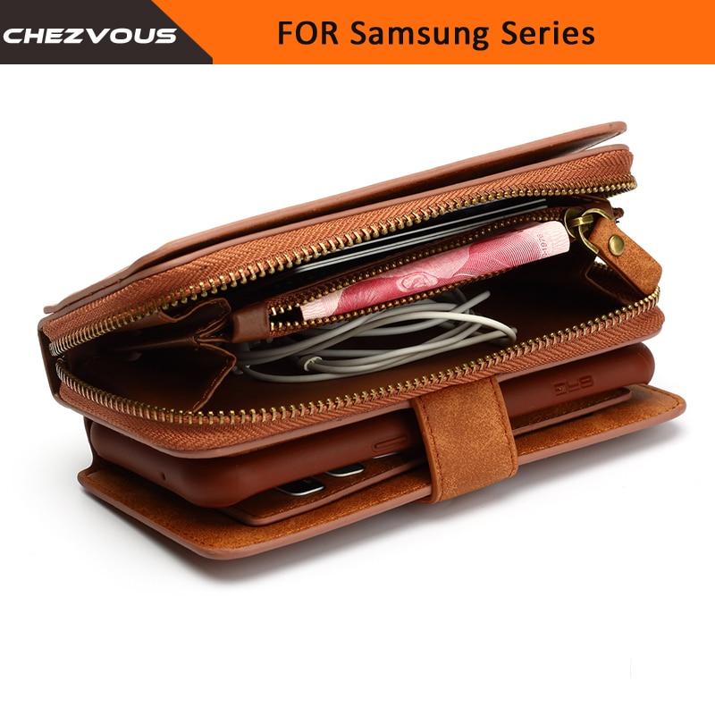 51942f831702c Skup Portfel Dla Samsung Galaxy S4 5 6 7 krawędzi Case 2 w 1 Karty Slot  Stoisko Etui Na Uwadze 4 5 Klapki Sk oacute;rzane Pokrycie Zipper Kiesy  Phone Bag ...