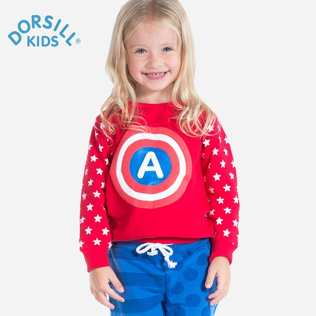 Dorsill niños camisetas y tops de primavera y otoño 2017 nueva moda de manga larga sudadera con capucha niño 100% algodón de la muchacha ropa de 12 m de 7 t niños