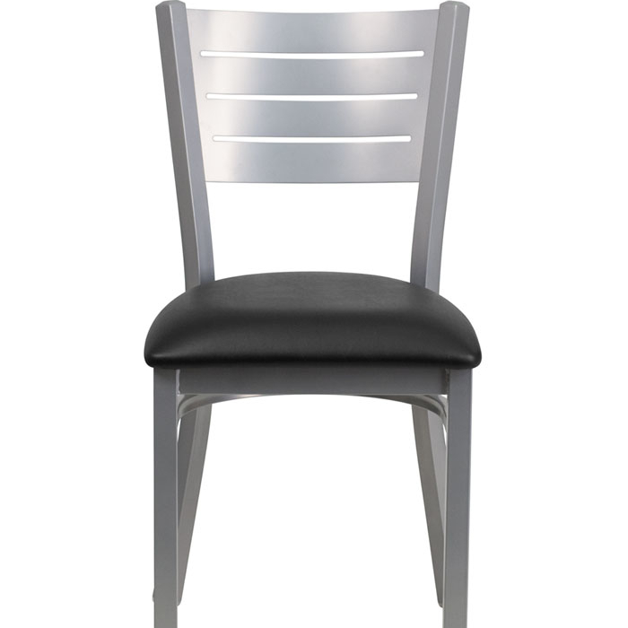 HERCULES Series Silver Slat Back Metal Restaurant Chair - Black Vinyl Seat the silver chair
