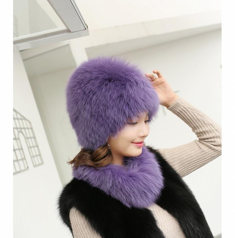 Fox fur hat ladies autumn and winter warm earmuffs hand-stitched elastic cap