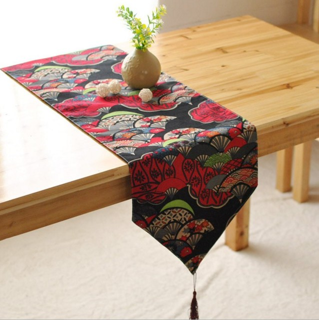 Indian Style Printed Red Blue Cotton And Linen Table Runner Hotel Home Table  Decoration Cloth 8013ZQ