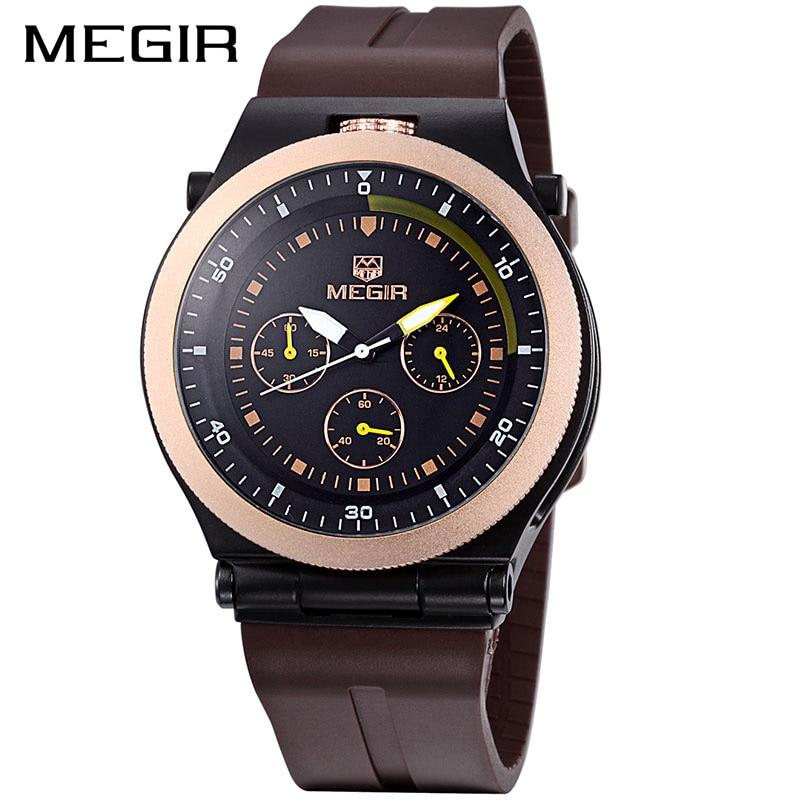 MEGIR Original Sport Men Watches Chronograph Rubber Strap Creative Quartz Watch Luminous Wristwatches Sport Clock Relogio Femin