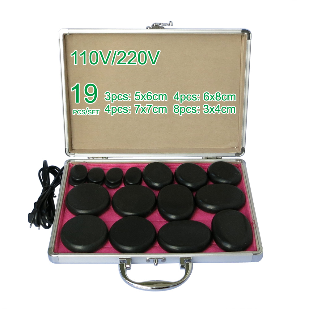 лучшая цена NEW wholesale & retail electrical heating 110/220V SPA hot energy stone 19pcs/set with heat box (model 3+4+4+8)